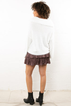 Puckered Mauve Mini Skirt