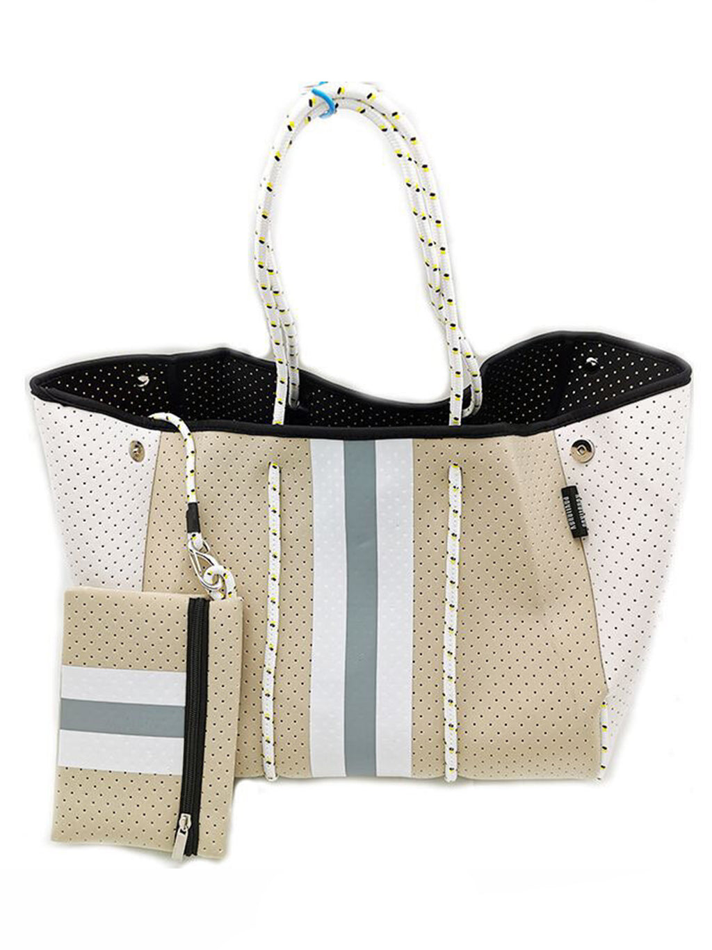 Neoprene Tote Bag Tan Grey Stripe