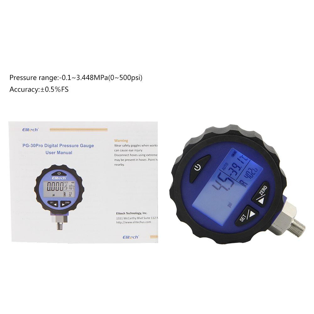 Elitech PG-30Pro Blue Refrigeration HVAC Digital Pressure Gauge for 87+ Refrigerants with Backlight 0-500 PSI 1/8 NPT - Elitechustore