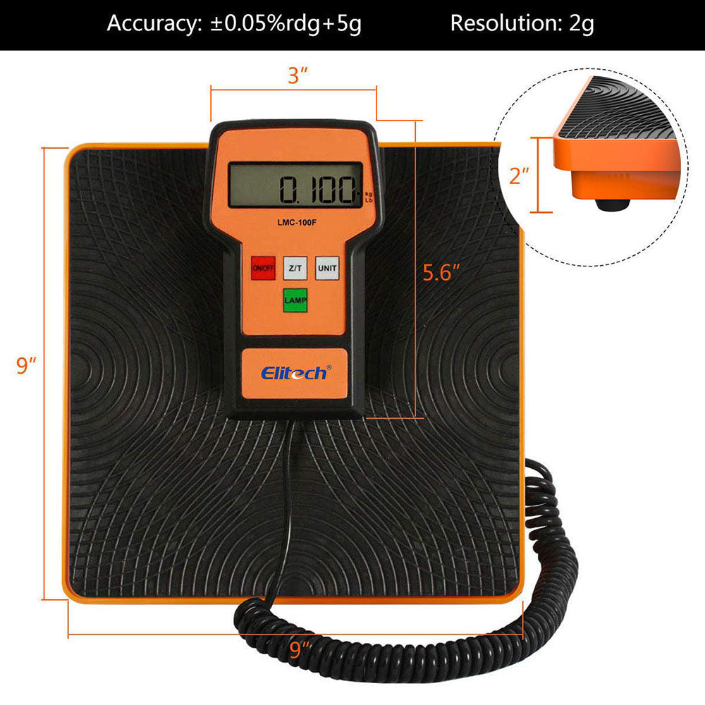Elitech LMC-100F Refrigerant Charging Scale 110Lbs w/Resolution: 2g