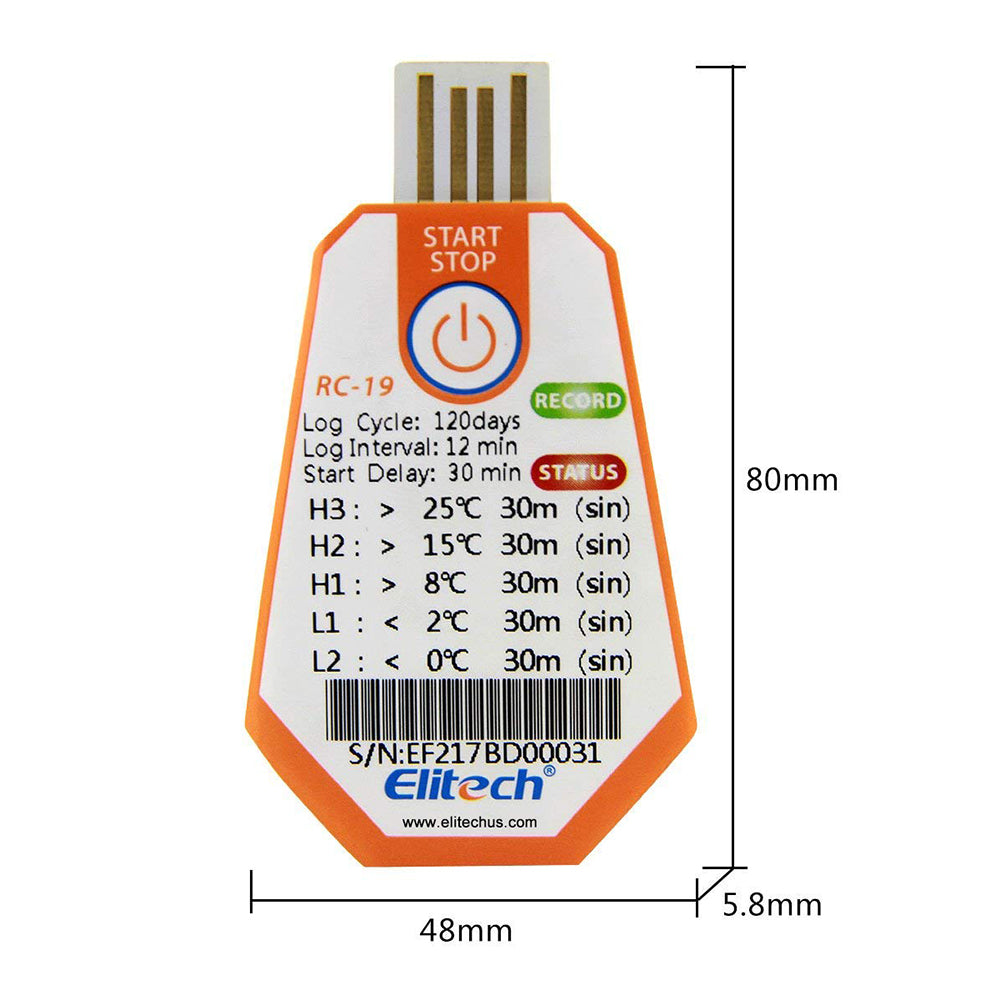 Elitech RC-19 Disposable Temperature Data Logger USB 16000 Points for Storage Food Pharmaceuticals