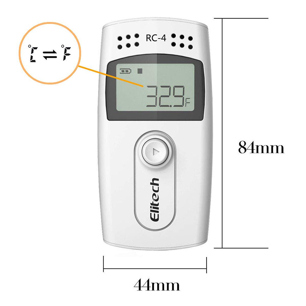 Elitech RC-4G Temperature Data Logger Recorder with with Glycol Bottle Temperature Sensor, Audio Alarm, MAXMIN Display