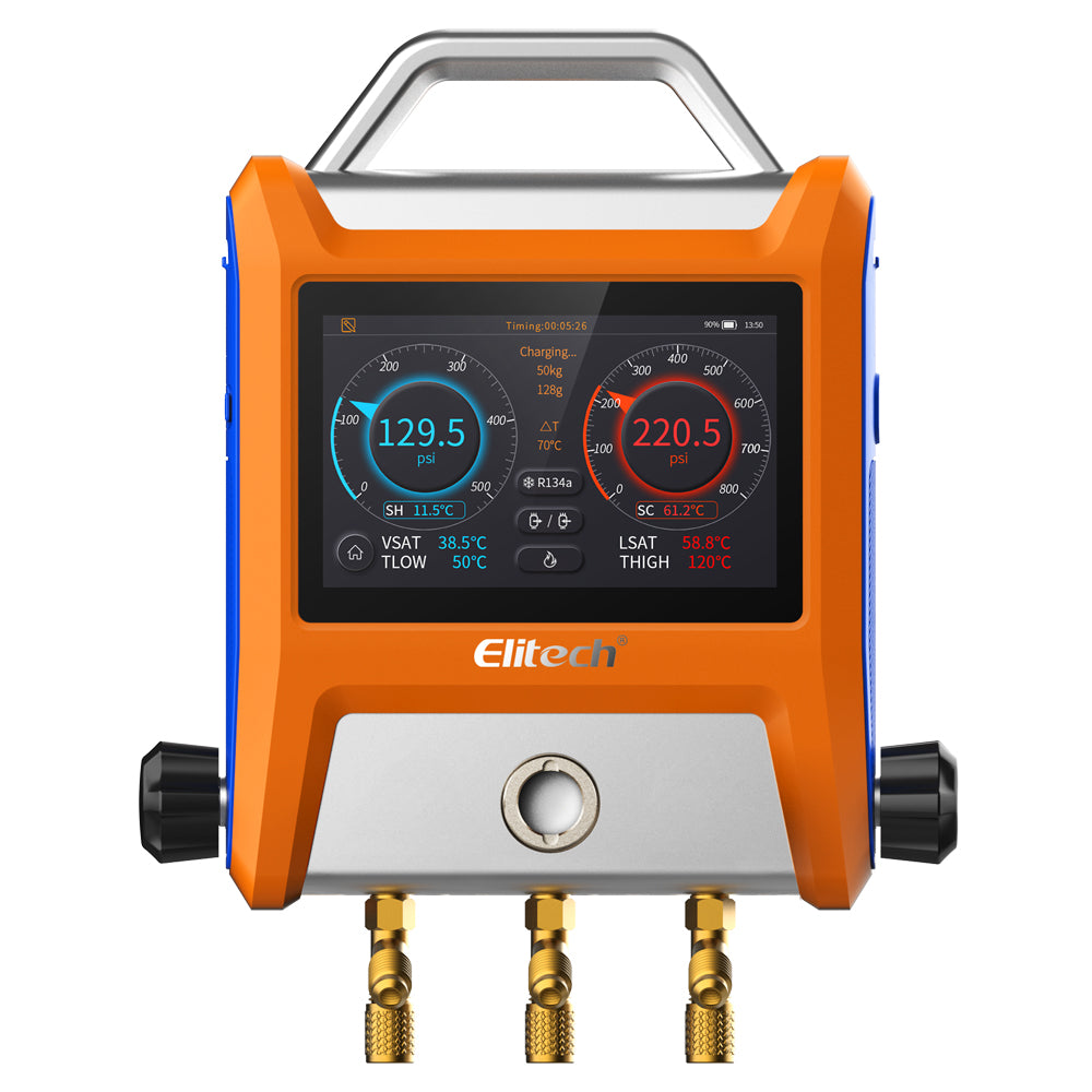 "Elitech SMG-20V Intelligent 2 Valves Digital Manifold with 5"" Smart Touch Screen"