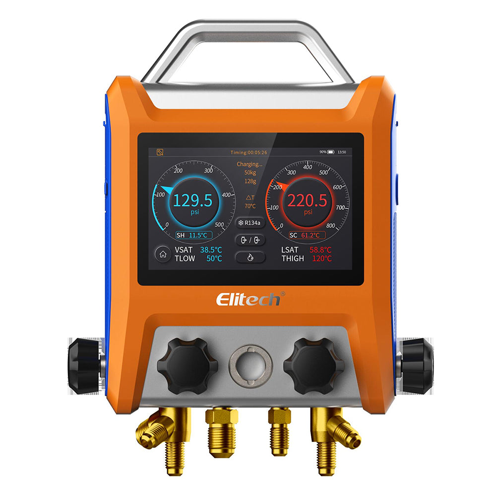 "Elitech SMG-40V Intelligent 4 Valves Digital Manifold with 5"" Smart Touch Screen"