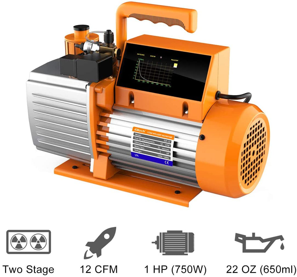 Elitech SVP-12 Vacuum Pump 12 CFM 2 Stage Intelligent HVAC Refrigerant Recharging, Touch Screen, Data Logging and Storage via App