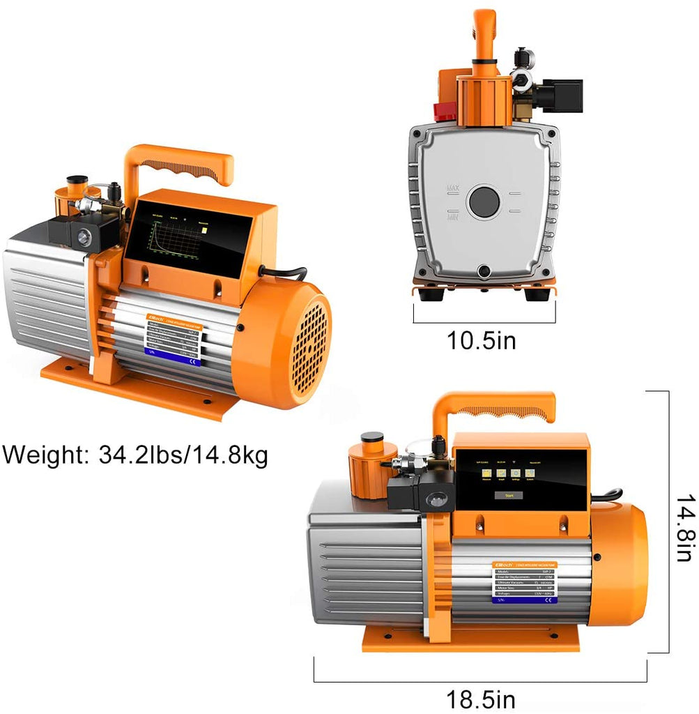 Elitech SVP-7 2 Stage Vacuum Pump 7 CFM Intelligent HVAC Refrigerant Recharging, Data Logging and Storage via App, Touch Screen