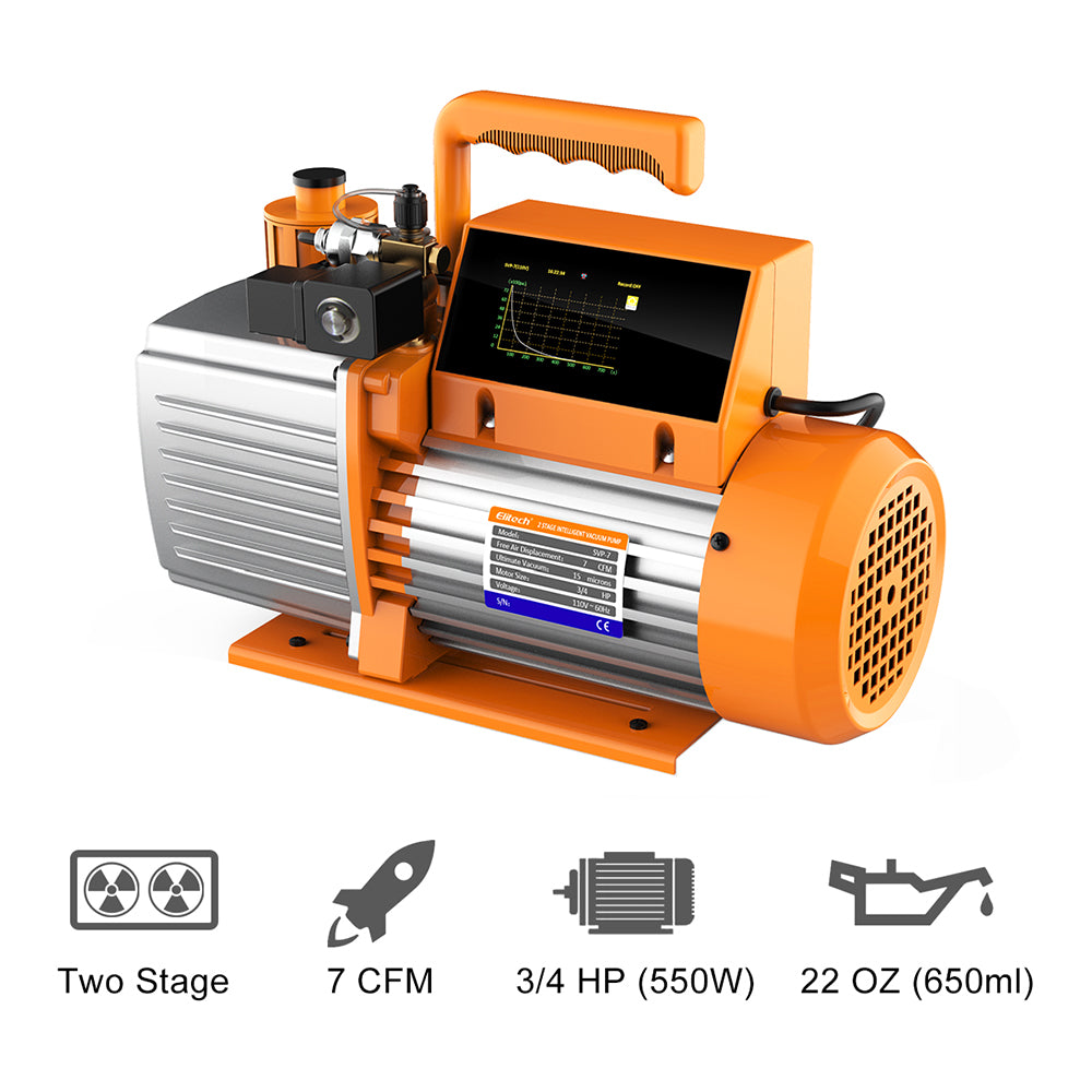 Elitech SVP-7 Vacuum Pump 7 CFM 2 Stage Intelligent HVAC LMC-200A Refrigerant Charging Weight Recovery Scale