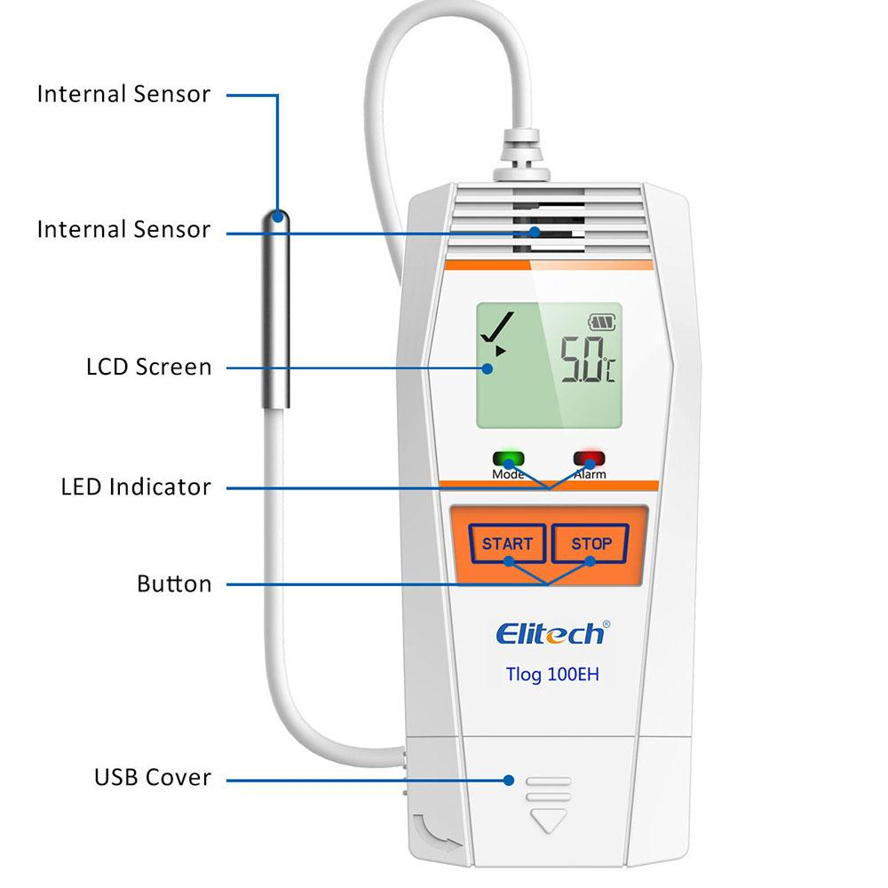 Elitech Tlog 100EH Reusable Temperature Data Logger -40°F to 185°F