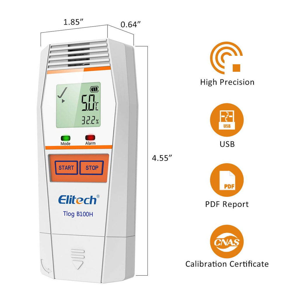 Elitech Tlog B100H Temperature and Humidity Data Logger Wireless Reusable Temperature Recorder PDF Report 32000 Points