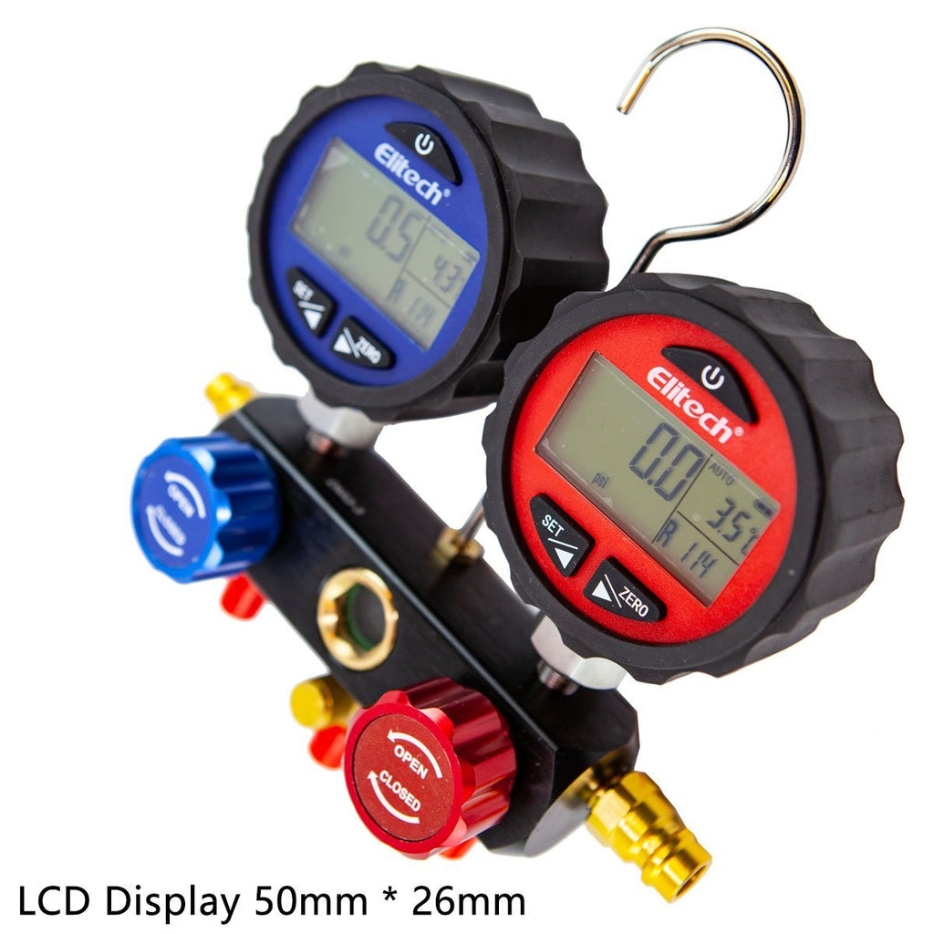 Elitech DMG-3 Digital HVAC Manifold Gauge Set 3 Hose with Case - Elitech Technology, Inc.
