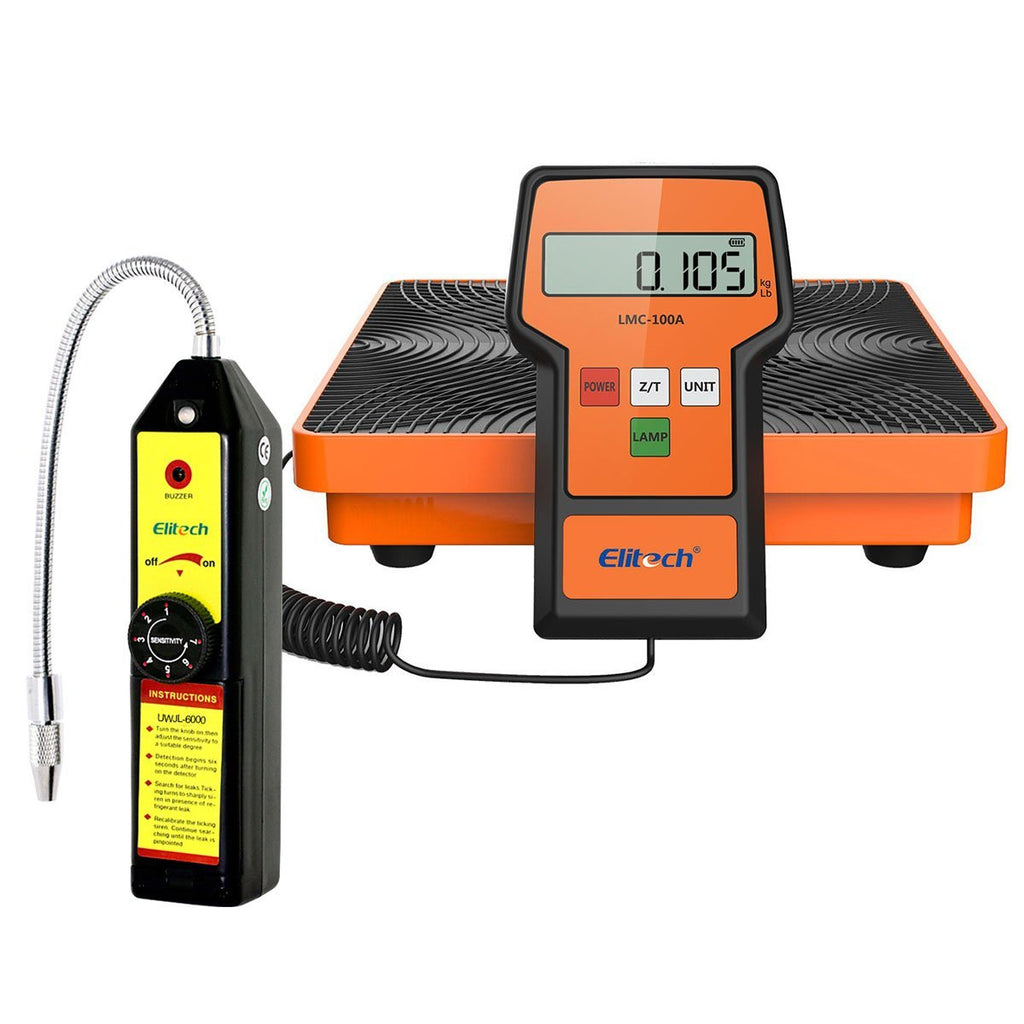 Elitech HVAC Tools Set - Refrigerant Leak Detector WJL-6000 & Refrigerant Charging Scale LMC-100A - Elitech Technology, Inc.