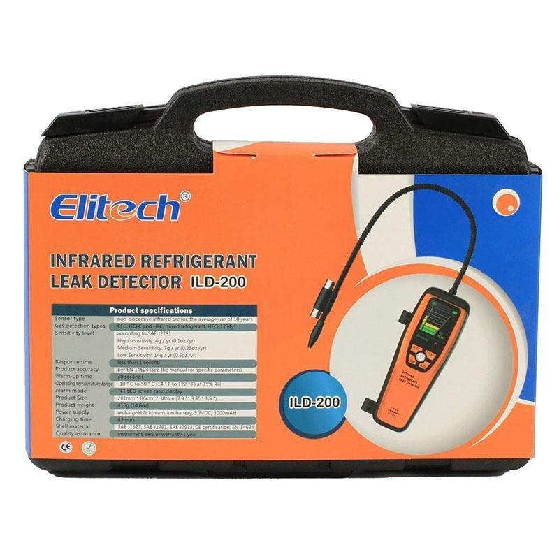 Elitech ILD-200 Advanced Refrigerant Leak Detector Halogen Leakage Tester Checker High Sensitivity Portable Case 10 Years' Life 【3 Years Warranty】 - Elitechustore