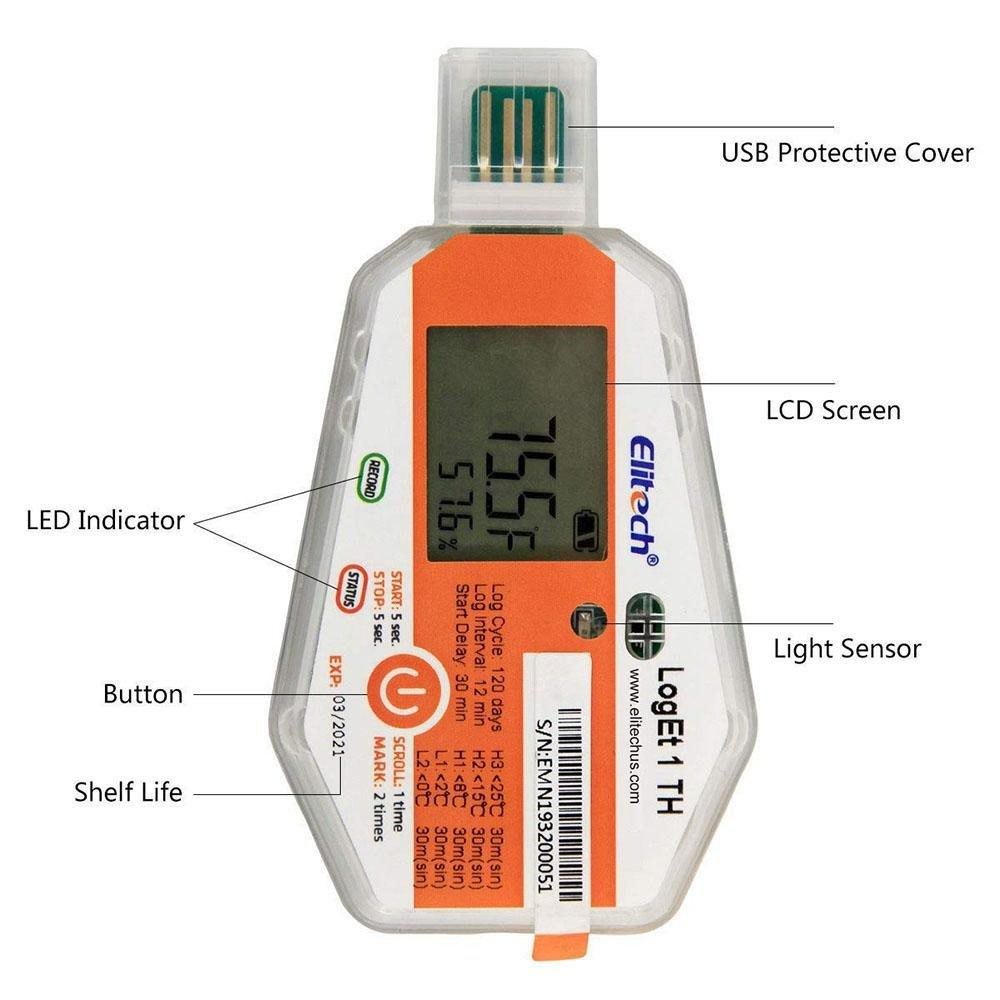 Elitech LogEt 1TH Temperature and Humidity Data Logger Single Use PDF Report USB Port 16000 Points - Elitechustore