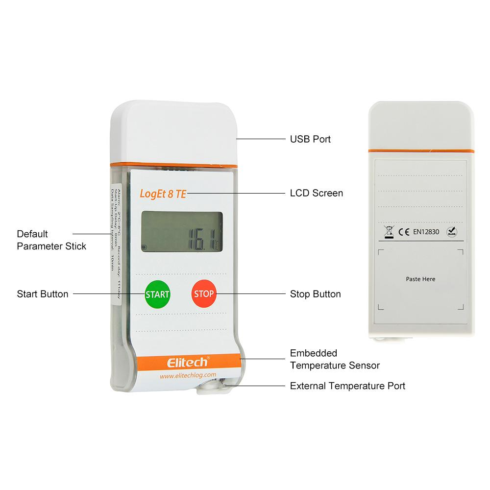 Elitech LogEt 8 TE Temperature Data Logger Reusable PDF Report USB Port High Accuracy 16000 Points - Elitechustore