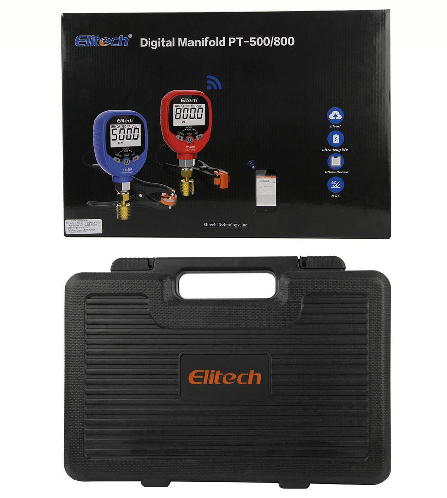 Elitech PT-500&PT-800 Wireless Refrigeration Digital Manifold Gauge Set HVAC A/C Pressure Temperature Gauge with Demountable Temperature Test Clip 1/8 NPT - Elitechustore
