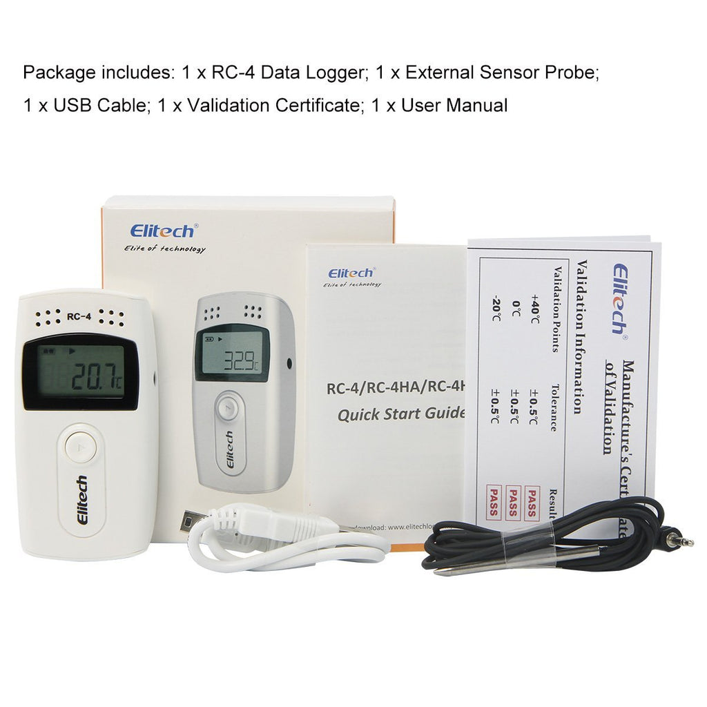 Elitech RC-4 Temperature Data Logger Recorder with External Temperature Sensor Audio Alarm - Elitechustore