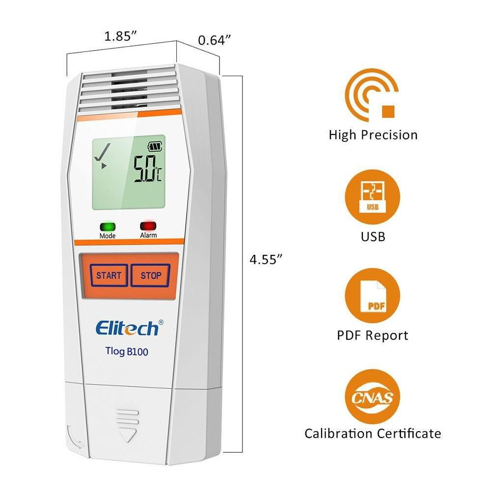 Elitech Tlog B100 Bluetooth Reusable Temperature Data Logger with PDF Report