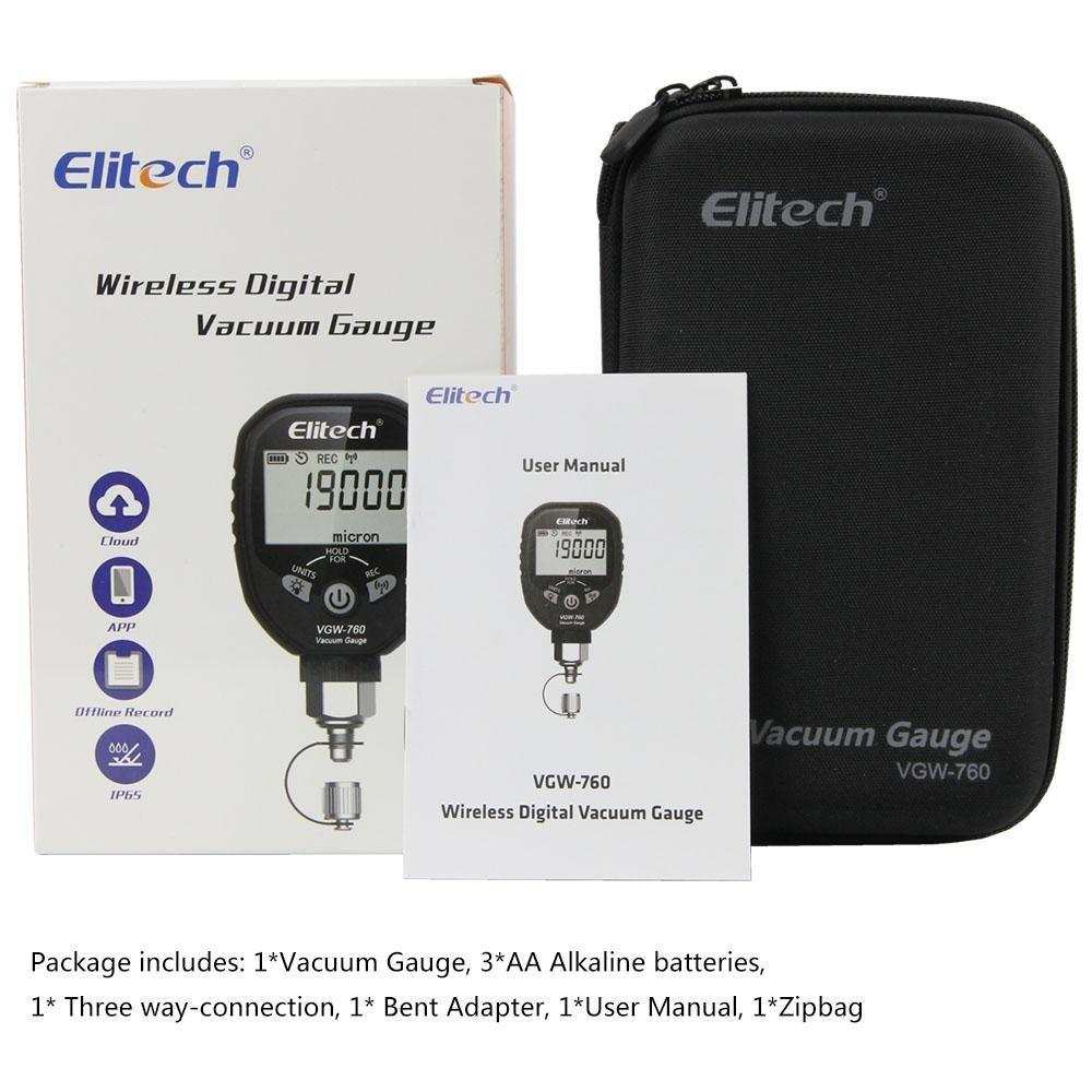 Elitech VGW-760 Wireless Refrigeration Digital Vacuum Gauge Micron Gauge HVAC Vacuum Pressure Temperature Tester Leakage Test - Elitechustore