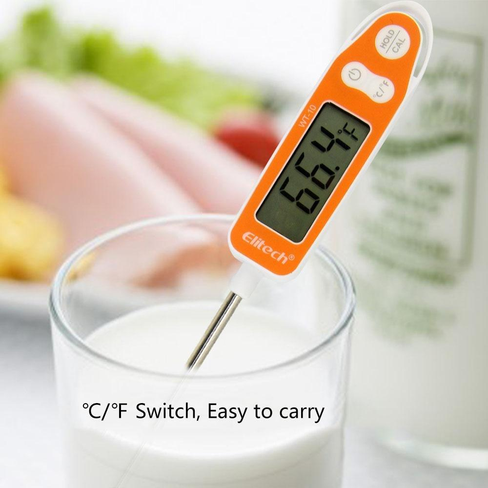 Elitech WT-10 Meat Digital Thermometer with Instant Read LCD Screen Hold Function for Kitchen Cooking Food Grill BBQ Meat Candy Milk Water - Elitechustore