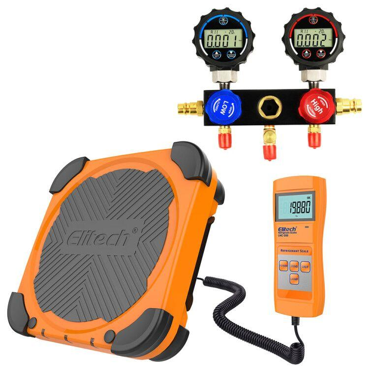 HVAC Tools Set - Refrigerant Charging Scale LMC-200 + Digital Manifold Gauge Set DMG-1 - Elitech Technology, Inc.