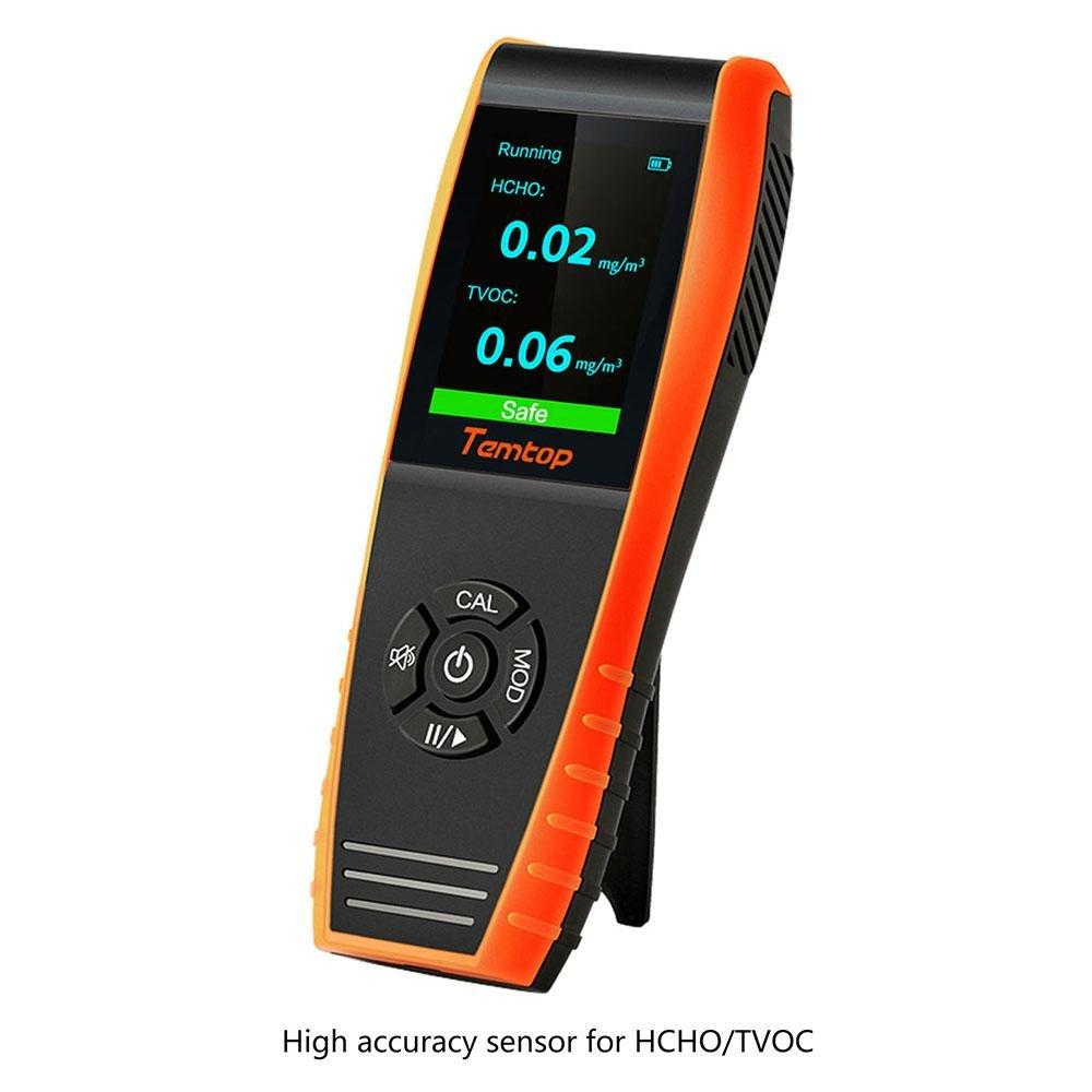 Temtop H3 Air Quality Detector Professional HCHO TVOC Real Time Monitor Audio Alarm TFT Color Screen Rechargeable - Elitechustore