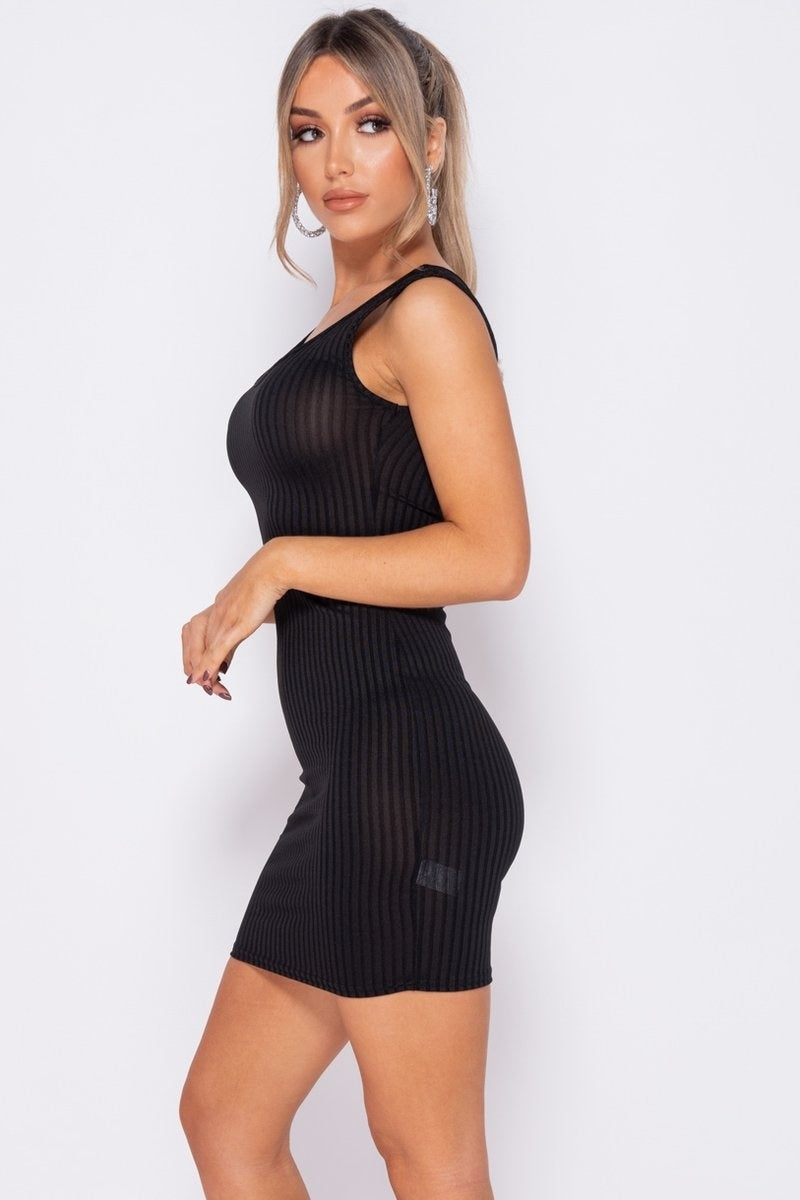 Black Rib Knit Scoop Neck Bodycon Mini Dress Black