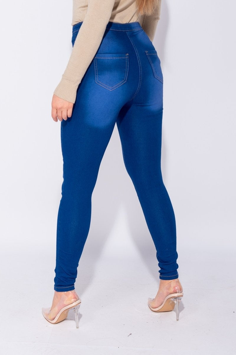 Bright Blue Faded Skinny Jeggings