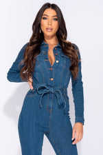 Bright Blue Button Up Detail Tie Waist Long Sleeve Jumpsuit