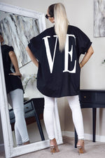 Love Print Loose Fit Short Sleeve Shirt Black
