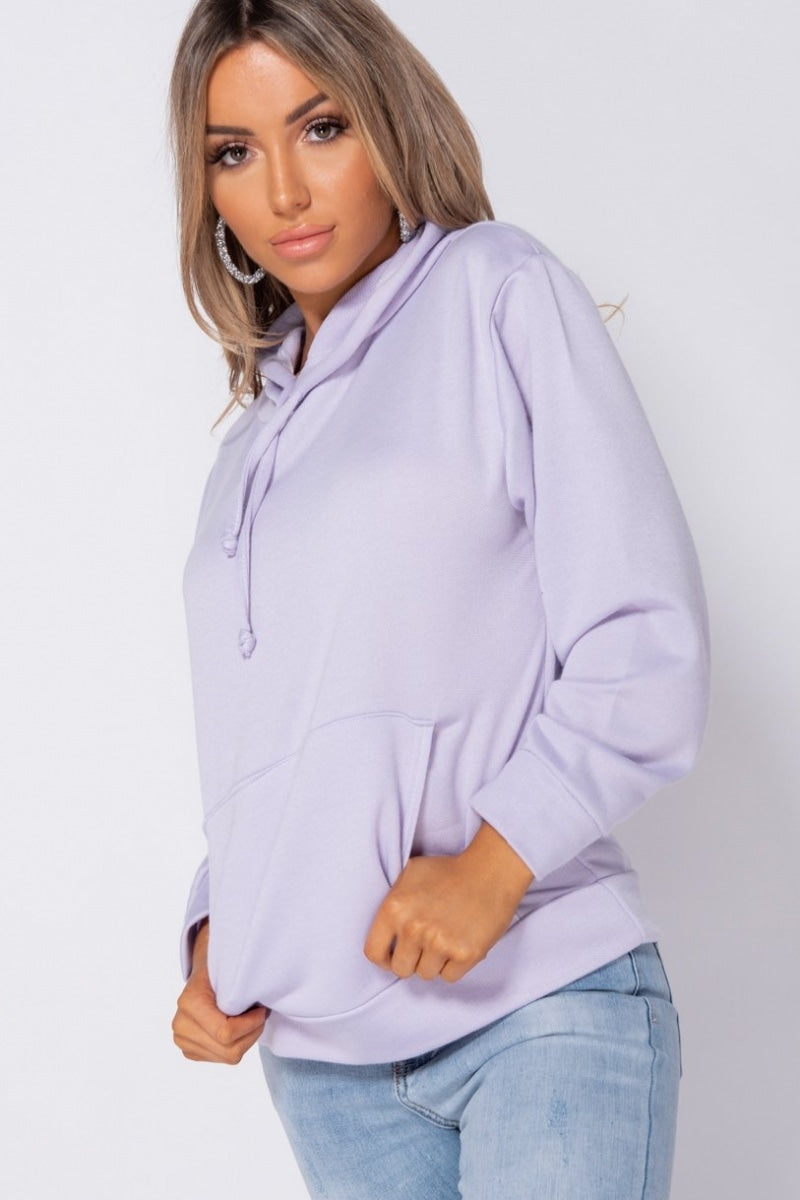 Lilac Oversized Draw String Hooded Sweatshirt