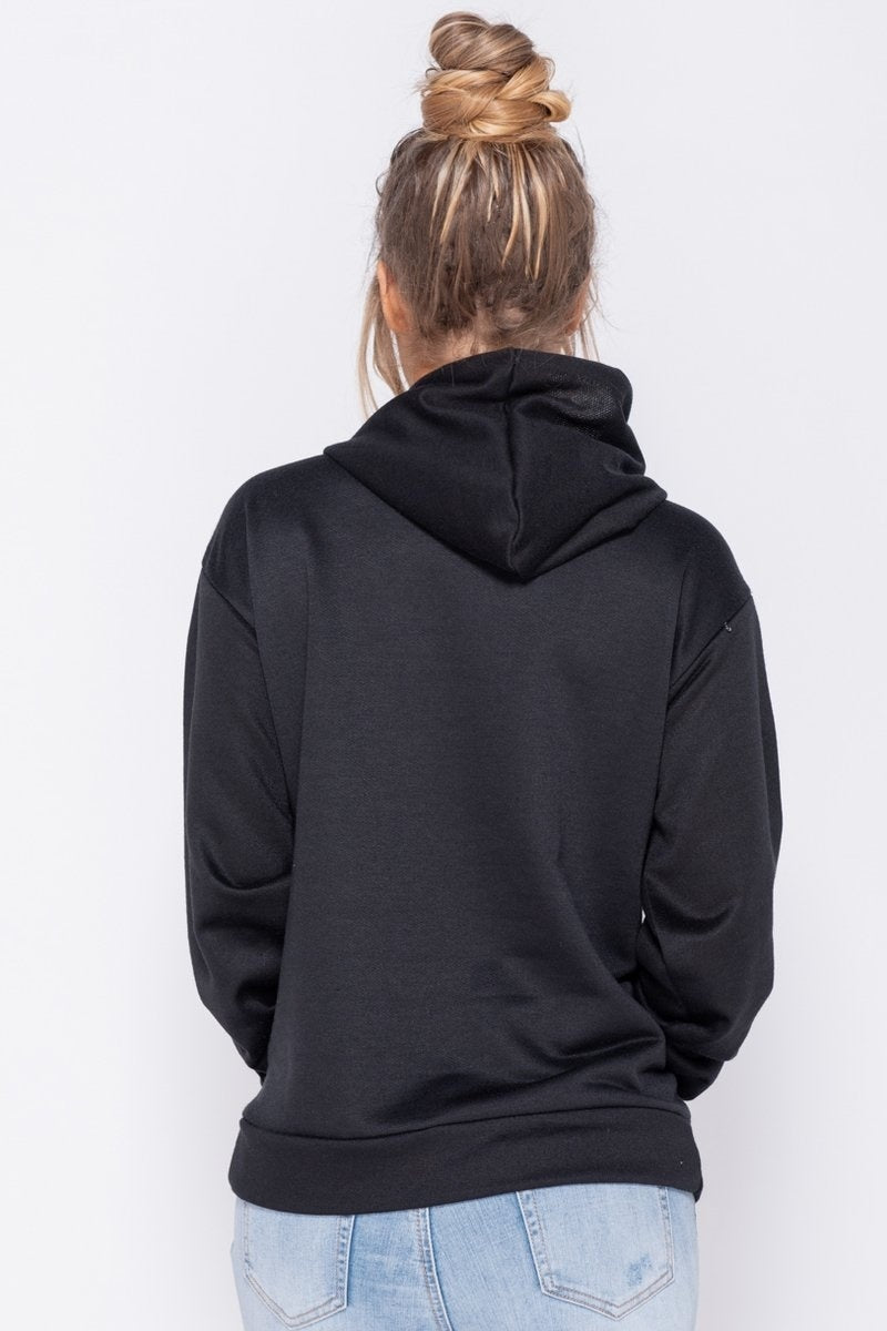 Black Oversized Draw String Hooded Sweatshirt