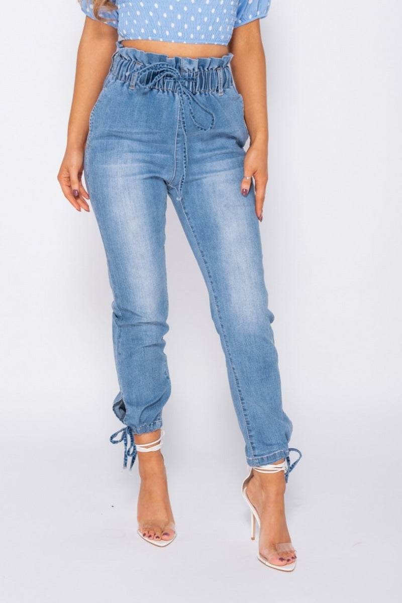 Light Blue Paperbag Waist Tie Up Hem Jeans