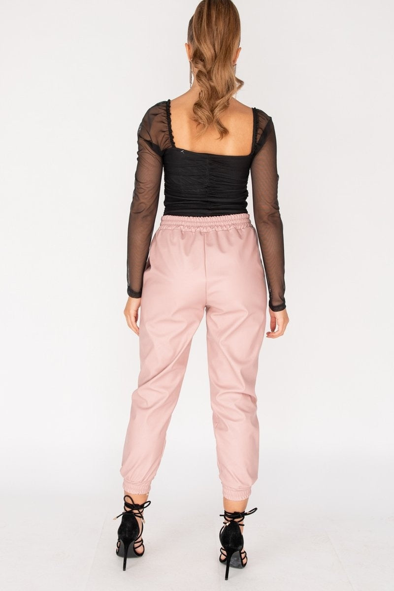 Pink PU Elasticated Waistband & Hem Jogging Trousers