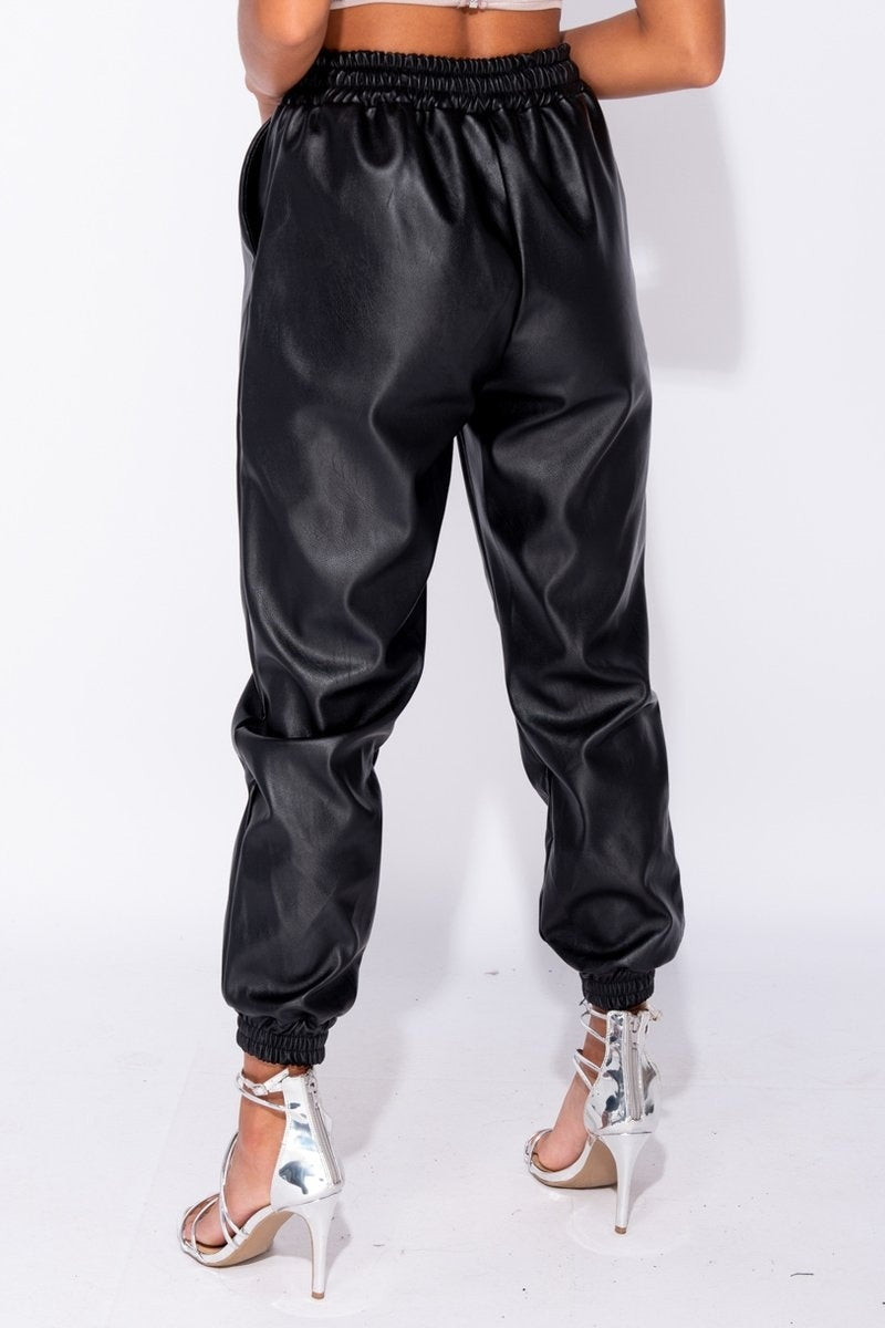 PU Elasticated Waistband & Hem Jogging Trousers Black