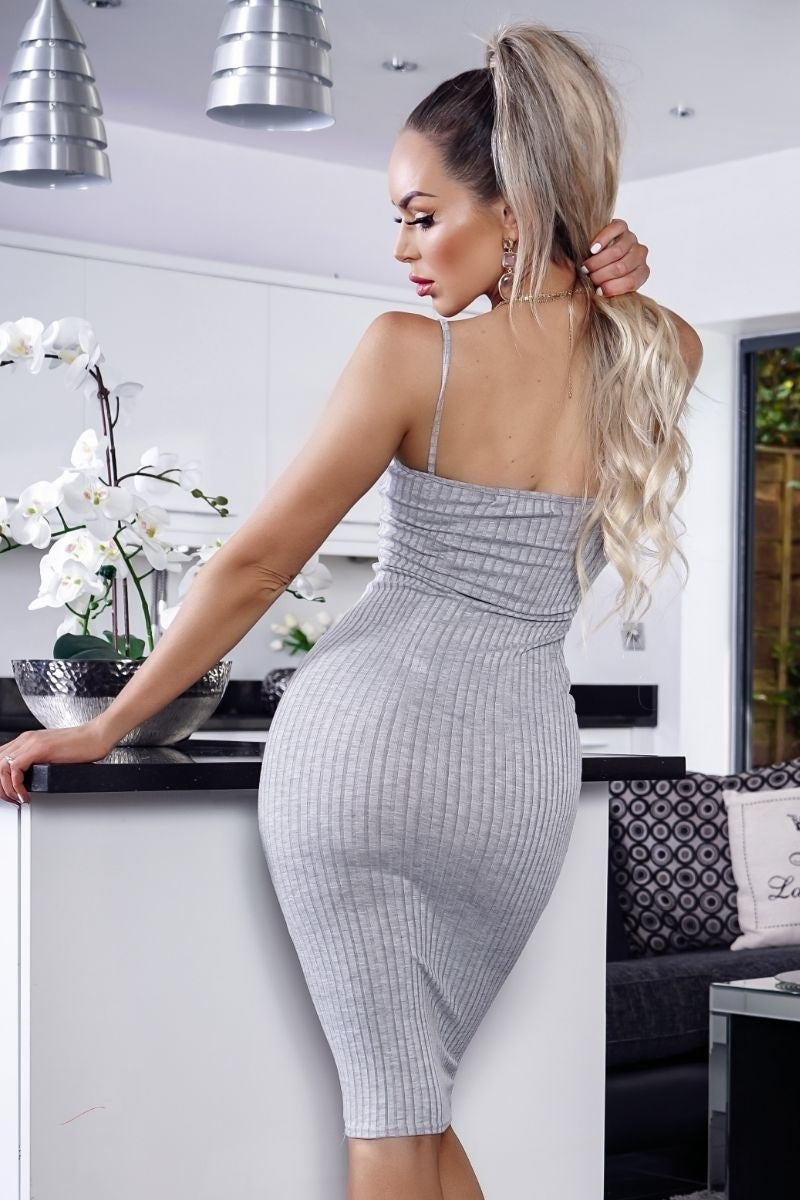Rib Knit Plunge Neck Bodycon Midi Dress Grey