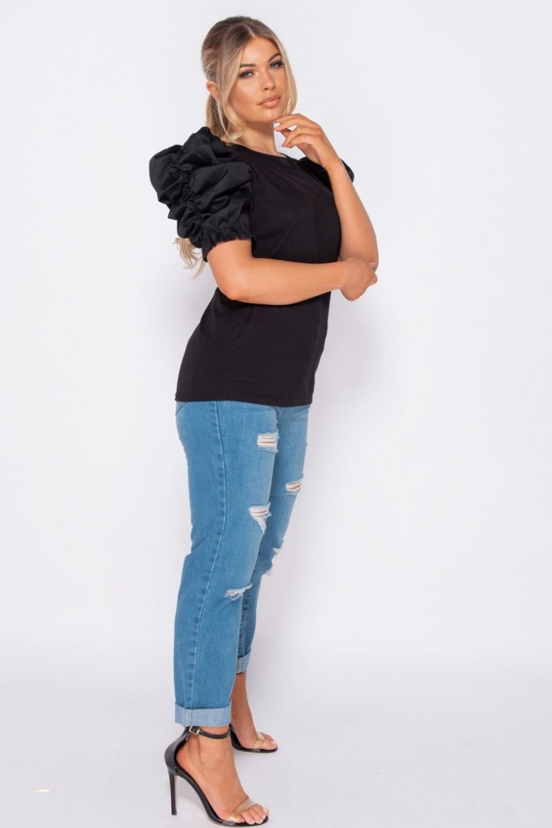Black Ruched Puffed Sleeve Knit Top