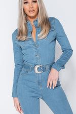 Light Blue Long Sleeve Denim Jumpsuit with Western Belt Detail