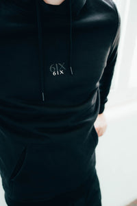 6IX CONTRAST LOGO HOODIE BLACK - 6IX Collection