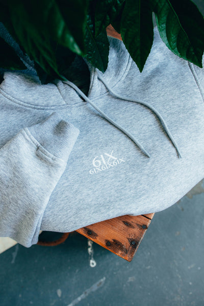 6IX SIGNATURE LOGO HOODIE LIGHT GREY - 6IX Collection