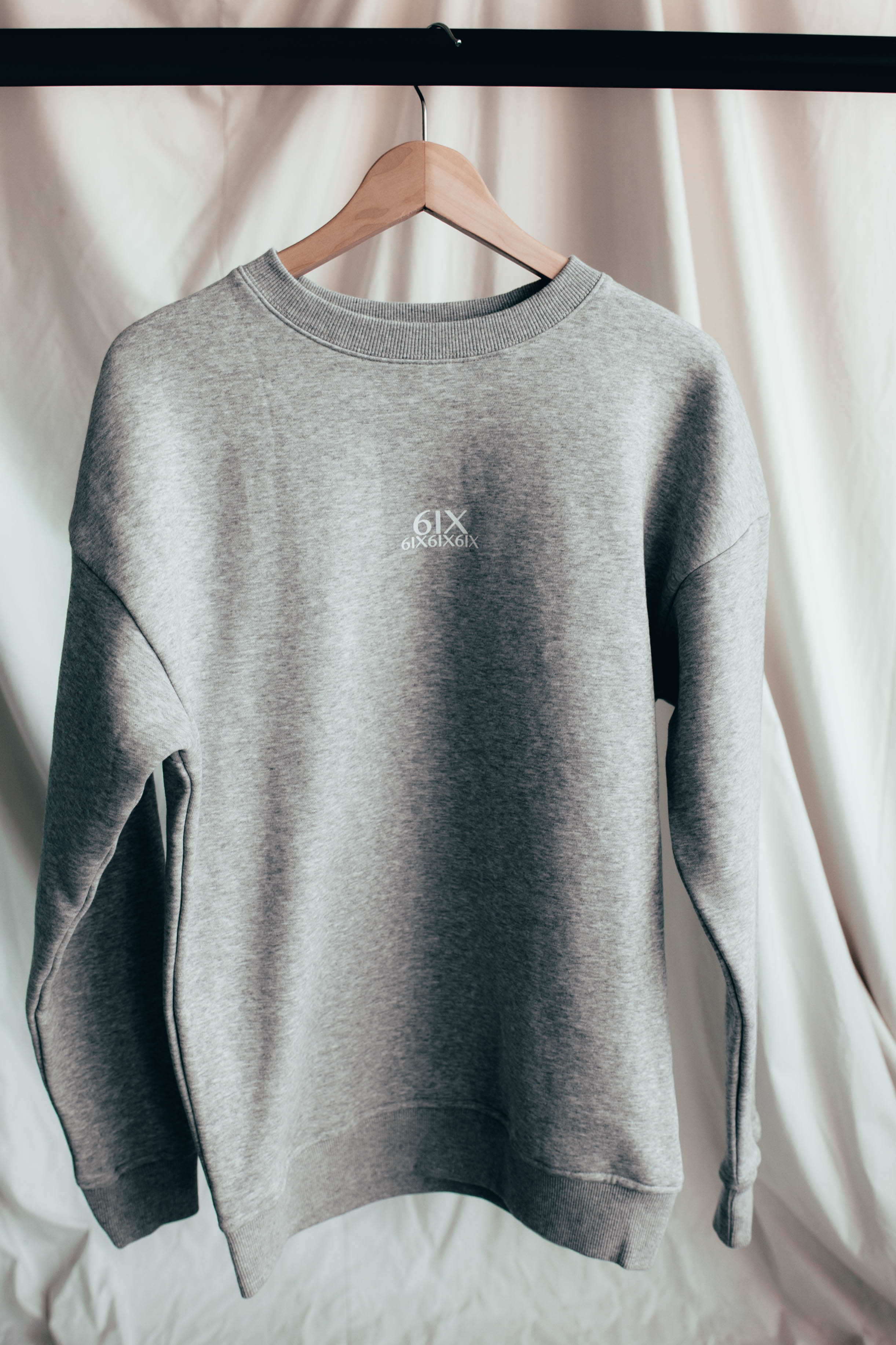6IX CREW NECK JUMPER GREY - 6IX Collection