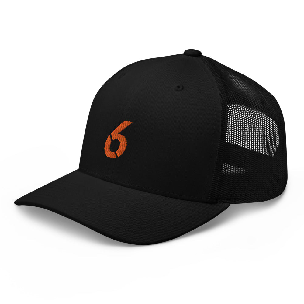Trucker Cap Orange 6 Logo - 6IX Collection