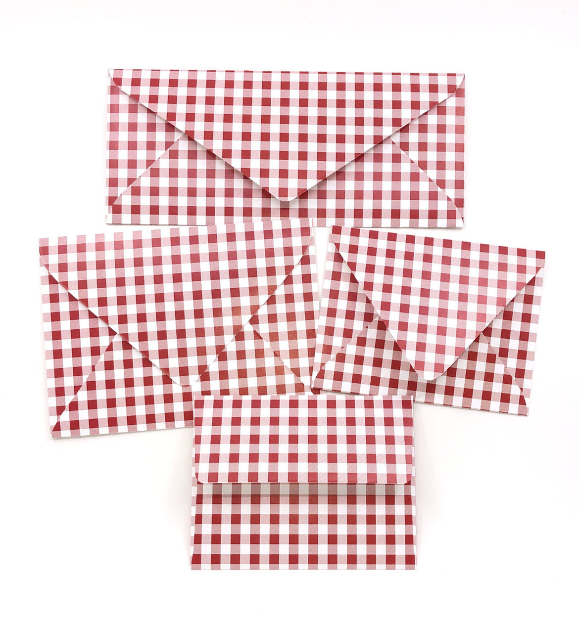 Gingham Red Envelopes - 20 per pack