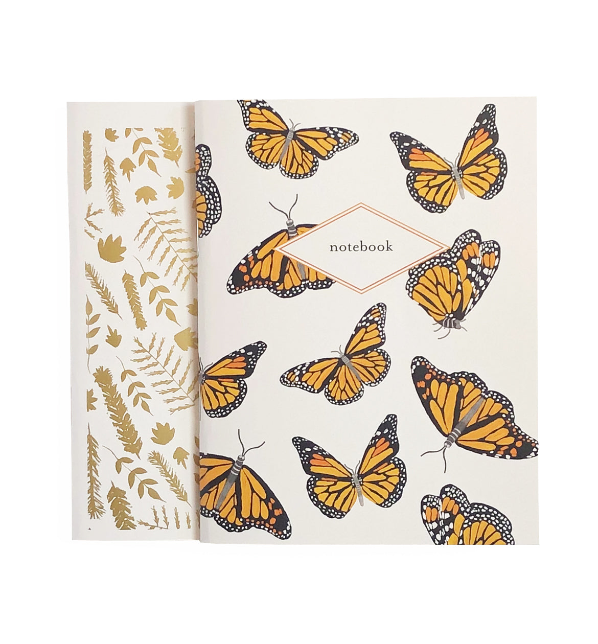 Monarch Butterfly & Gold Botanical Leaves