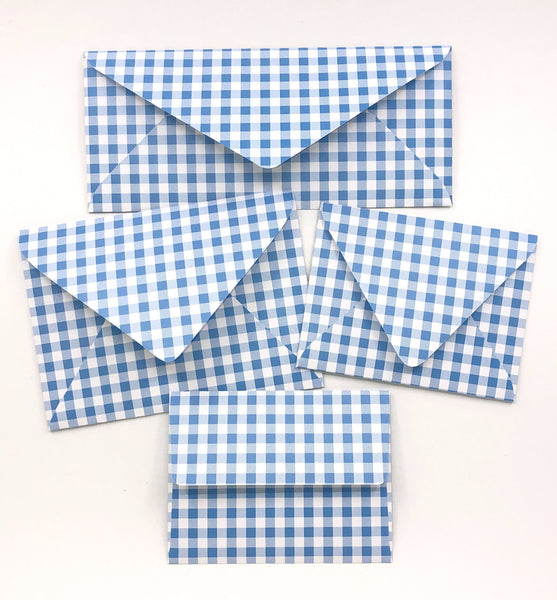 Gingham Blue Envelopes - 20 per pack
