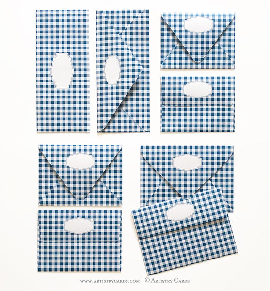 GINGHAM NAVY ENVELOPES & LINERS