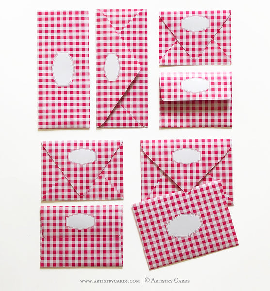 GINGHAM PINK ENVELOPES & LINERS