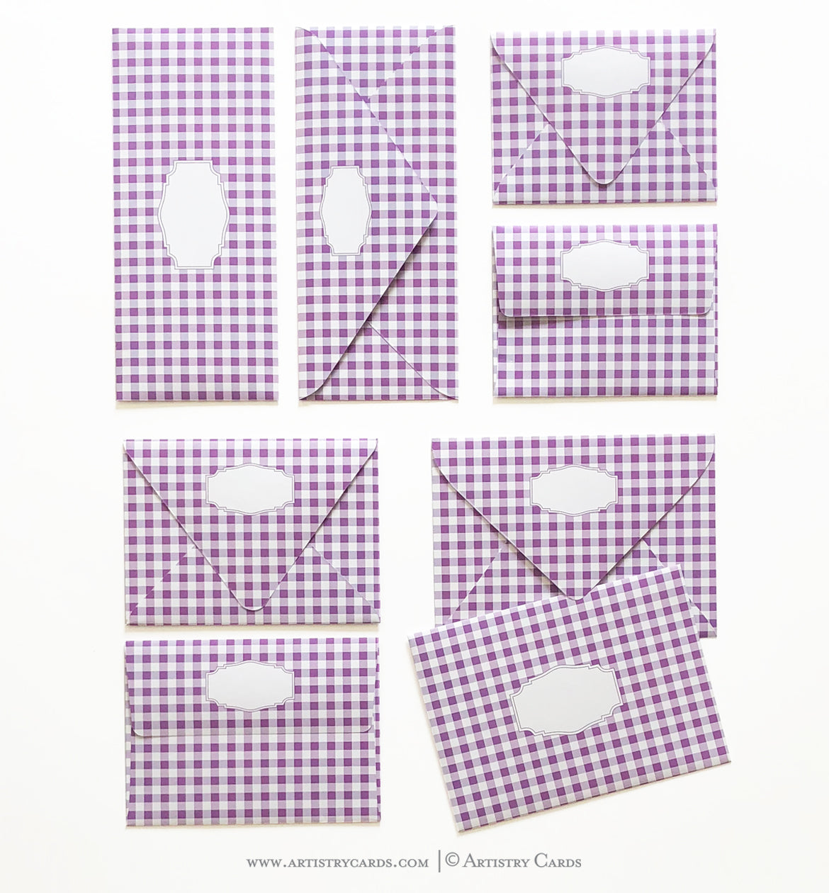 GINGHAM PURPLE ENVELOPES & LINERS