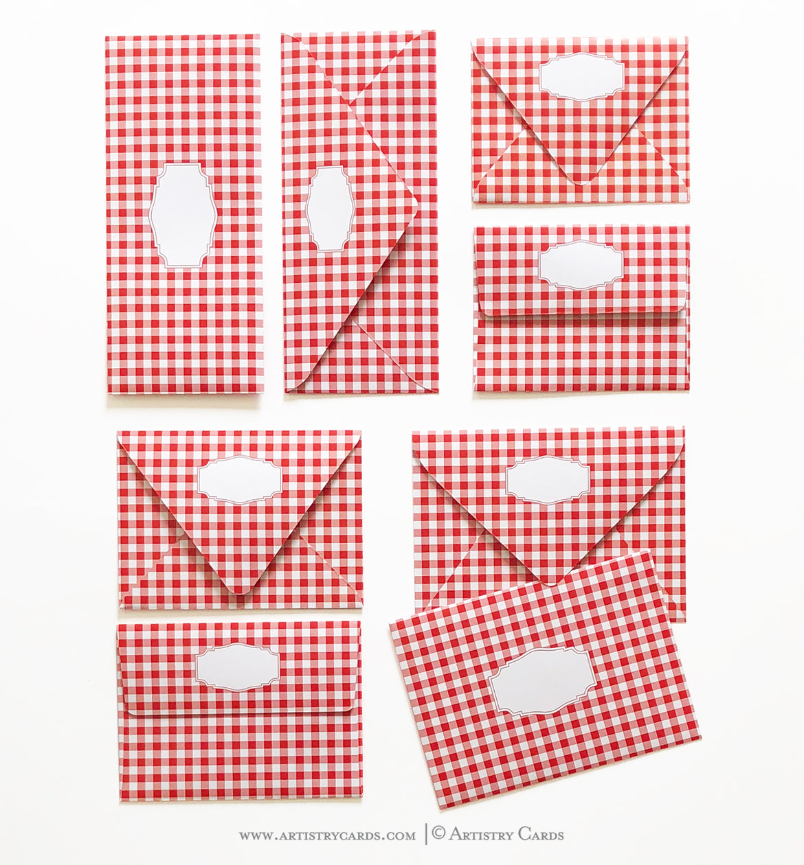 GINGHAM RED ENVELOPES & LINERS