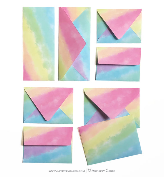 WATERCOLOR RAINBOW ENVELOPES & LINERS