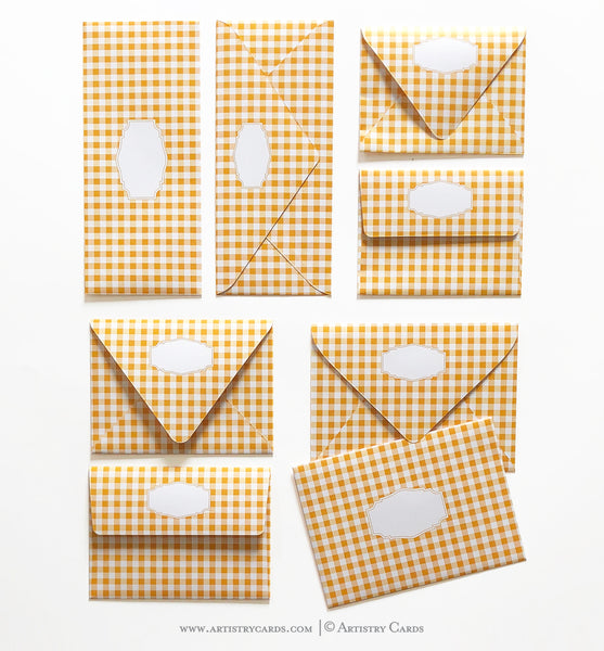 GINGHAM YELLOW ENVELOPES & LINERS